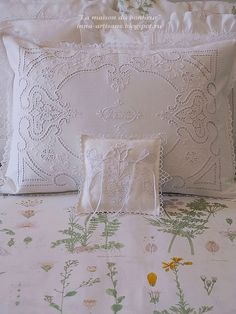 Embroidery Fashion, Hand Embroidery, Embroidery Designs, Cotton Bedding, Linen Bedding, Shabby Chic Bedrooms, Cutwork, Doll Face, Embroidered Lace