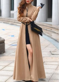 **I NEED THIS!*** Attractive Zipper Pattern Long Sleeve Trench Coat for Lady at rotita.com Size: Medium