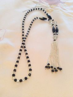 Art Deco Black w Clear Crystal Beaded Fringe Tassel by OurBoudoir, $128.00