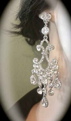 Chandelier earrings  Long  Rhinestone by QueenMeJewelryLLC on Etsy, $64.99