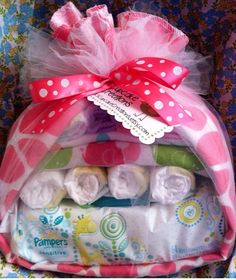 Diaper Baby Stork Baby Shower Gift Baby Girl- Diaper Cake