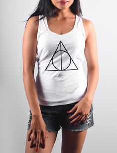 Buy Deathly Hallows - Tank Top For WoWomen - Clothing for Women from Bombay Trooper starting at Rs. Bombay Trooper, Printed Tank Tops, Things I Want, Stuff To Buy, Clothes, Deathly Hallows, Women, Ootd, Fashion
