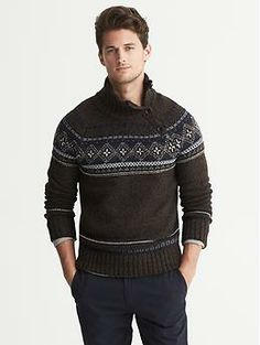 Heritage Jacquard Button Mock Pullover by Banana Republic