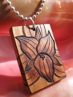 "Trillium Blossom on Cherry Wood Pyrography Pendant 1.5""x1"""