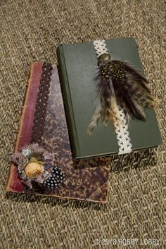 Decorate simple journals with ribbons and feathers for a custom-made look! (Hint: we used baby headbands for an easy journal band.)