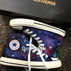 Personalized Handpainted Galaxy Canvas Shoes, Custom Painted Galaxy Converse, Galaxy Design Painted Source by Haleigh_Eggo shoes Galaxy Converse, Converse All Star, Mode Converse, Galaxy Shoes, Sneakers Mode, Custom Sneakers, Custom Shoes, Sneakers Fashion, Shoes Sneakers