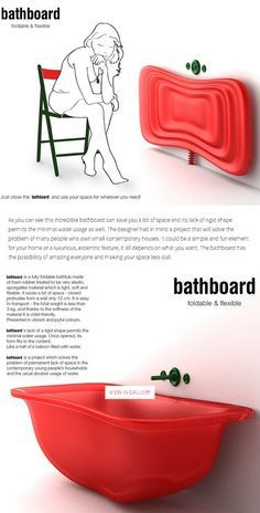 Unique, space-saving ribber bathtub designed by Sylwia Ulicka Rivera. Weight - less than 3 kgs. Flexible drainpipe.