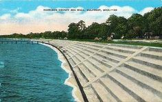 Gulfport Mississippi MS 1940s Harrison County Sea Wall Antique Vintage Postcard