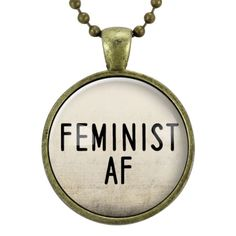 Feminist AF Necklace, Feminism Quote Jewelry, Woman Power Gender Equality Pendant