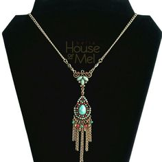 Southwestern inspired turquoise and red coral teardrop fringe necklace available at bella House Of Mel  #womensfashion #boho #jewelry #gifts #giftguide