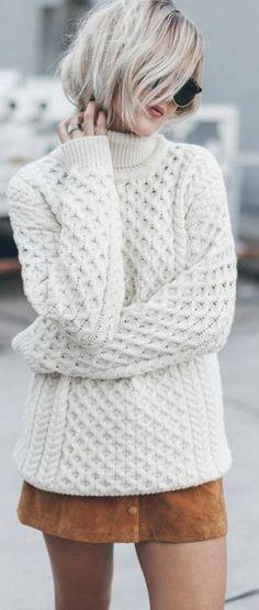 pull irlandais femmes, port avec jupe courte