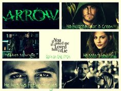 """Arrow. Taylor Swift's I'd lie. """"Yes I could tell you, his favorite color's green. He likes to argue, born on the 17th. His sister's beautiful, he has his father's eyes. And if you asked me if I love him... i'd lie""""- Felicity Smoak"""