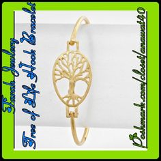 """Farah Jewelry Tree of Life Hook Bracelet Tree of Life Hook Bracelet circle tree of life measuring 3/4""""-H, and 2 3/8""""-D is in the center of this bracelet.  Beautiful and looks gorgeous paired and stacked with your other bracelets. Color: Matte Gold   Size: 3/4""""-H, 2 3/8""""-D Photos courtesy: Farah Jewelry Farah Jewelry Jewelry Bracelets"""