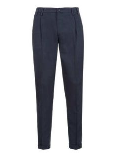 Navy Herringbone Tapered Pants - Men's Pants  - Clothing