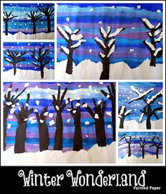 We have been busy creating various winter scenes in our art classroom. One project that was inspired by my good pal, Ginger, over . Classroom Art Projects, Cool Art Projects, Art Classroom, Projects For Kids, Winter Trees, Winter Art, Winter Crafts For Kids, Art For Kids, 3rd Grade Art