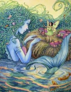 Mermaid and the fae. Magical Creatures, Fantasy Creatures, Fairy Mermaid, Fantasy World, Fantasy Art, Art Magique, Psy Art, Photo D Art, Mermaids And Mermen