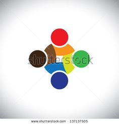 Colorful design of people symbols working as team & cooperating. This vector logo template can represent unity and solidarity in group or team of people, excellent teamwork, etc - stock vector