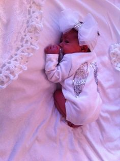 ANGEL WING ONESIE & BOW. The bow is a little much but love the onesie!