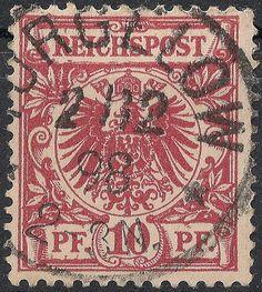 Freimarke zu 10 Pfennig (Mi.-Nr. 47 - Ausgabe ab 1889), abgeschlagen mit Einkreisstempel TORGELOW / 2/12 / 98 / * 2 - 3N. *.
