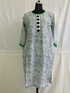 Black and White cotton kurti with big button on neck line.
