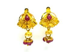 New Gold Earrings/Drops/Tops Ruby Bead Studded 22ct 20k (78% Pure) Fancy Design