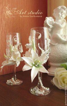 Свадебные фужеры, фужеры с цветами, бокалы с цветами, свадебные аксессуары…