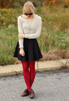 Sweater, skirt, tights, shoes, neckalce!