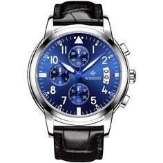WISHDOIT Business Luxury Leather Watches Big Number Date Quartz Wrist Watches for Men Leather Strap Watches online - NewChic