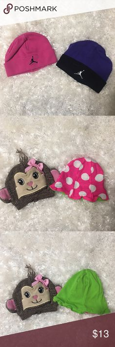 ✨Baby beanies✨ 2 Jordan beanies, pink with black logo & purple and black with white logo. Both size 0-6 month. PLUS monkey face beanie brown, tan & pink size 6-12 months and a reversible pink with white polka dots reverse side lime green size 6-12 months. All 4 very gently used!!! Please feel free to ask any questions and as always reasonable offers are welcome!!! Jordan Accessories Hats