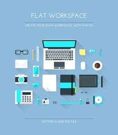 Designer Flat Workspace Elements Use it for you hero image, banner, poster, or just use single elements as you like. This file is 100% vector and you can resize each object into any size.