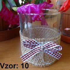 Svietnik sklenený s mašľou - Sviečka - Bez sviečky, Vzor - Vzor 10