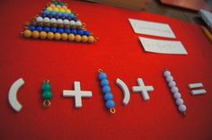 I love this! What a great way to use the Montessori math beads!
