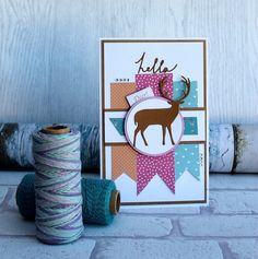 Proud Deer Card made using Craft Asylum Home Sweet Home collection and Sizzix Proud Deer card. A modern twist on the traditional Christmas card. Christmas Themes, Christmas Cards, Friendship Thank You, Sweet Home Collection, Asylum, Deer, Card Making, Kids Rugs, Projects