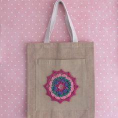 Bolso saco cuadrado para mujer/adolescente de yute y algodón con mandala rosa