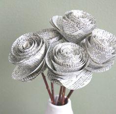 DIY flores com papel de jornal