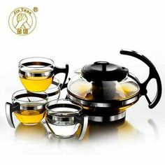 Glass Kettle with Cup Creative Household Tea Set for Your Elegant Simple Modern Style Teaset Style of Brief Vogue Glitter Home Decor, Tea Cup Set, China Sets, Tea Service, How To Make Tea, Black Coffee, Kettle, Home And Garden, Glass