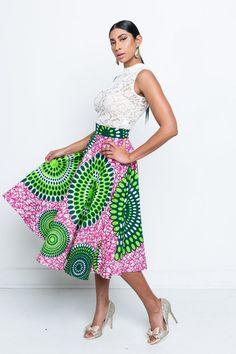 Cherise Abena pink and green Skirt African Wear, African Dress, African Fashion, Ankara Fashion, African Style, Ankara Dress Styles, Ghana Dresses, Alpha Kappa Alpha, Green Fashion
