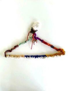 Jewelry hanger organizer in Crochet wire hanger, cottage chic hanger, hippie boho hanger yarn Indian sari covered crocheted hanger  Crochet wire
