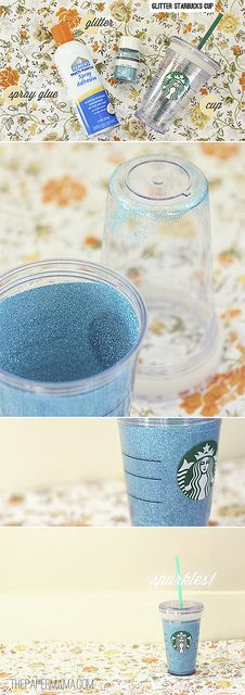 Customize your Starbucks cup with glitter! Easy DIY here: http://thepapermama.com/2012/09/glitter-starbucks-cup.html