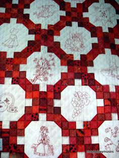 red work quilt Finish for a square?