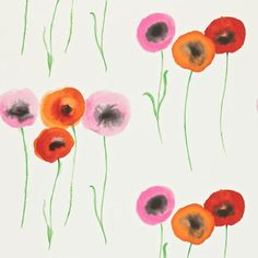 Wallpaper 'Poppies' is painted in a technique similar to traditional Chinese ink-painting and is printed with rich tones and multi-coloured flower heads on wide width paper. Available in our webshop www.moshje.nl
