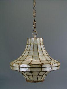 VINTAGE CAPIZ Hanging LAMP Pendant Lamp by LuminocityNYC on Etsy