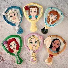 Princess fun! Who's your favorite? #princess #elsa #belle #anna #ariel #rapunzel #pocahontas #cookies #decoratedcookies #cookiesofinstagram #cookielove #cookieart inspiration from @ladybug215