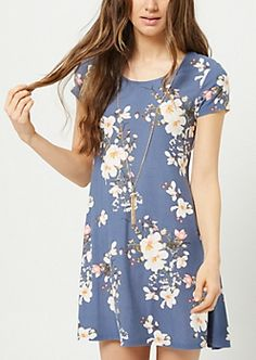 367d6b0e5f3 Navy Floral Print Necklace Swing Dress Rompers