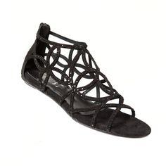 Sandalia plana con tiras de ante negras y brillantes incrustados Mas34 http://www.mas34shop.com/tienda/jep-set/