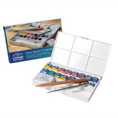 Winsor & Newton Cotman Water Colour Paint Deluxe Sketchers' Pocket Box, Set of Half Pans Artist Painting, Watercolor Paintings, Watercolour, Paint Brush Holders, Wooden Brush, Painted Pots, Paint Set, Sketchers, Paintings For Sale