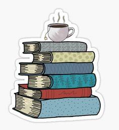Tea and books sticker Sticker Tea and books sticker Sticker Planner Stickers, Journal Stickers, Printable Stickers, Stickers Cool, Bubble Stickers, Laptop Stickers, Sticker Printer, Tea And Books, Aesthetic Stickers