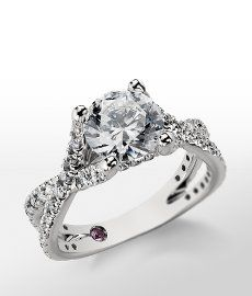 Monique Lhuillier Twist Cathedral Diamond Engagement Ring in Platinum #BlueNile