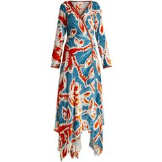 Peter Pilotto Floral-print velvet wrap dress (13,250 CNY) ❤ liked on Polyvore featuring dresses, blue print, plunging v neck dress, blue dresses, floral dresses, floral wrap dress and velvet dress