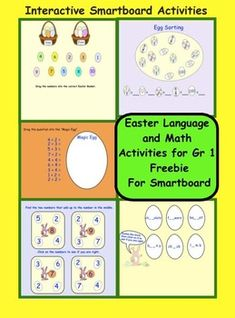 FREEBIE   EASTER Language and Math Gr 1,  Interactive Smartboard lessons